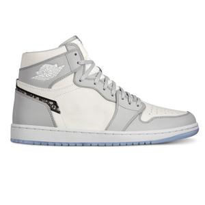 2020 Nuovi 1s arrivo 1 OG D Alta lusso di pallacanestro del Mens Formato dei pattini delle scarpe da tennis di design fondo bianco grigio cristallo US 7-12 con la scatola