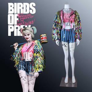 Harley Quinn Косплей Костюм птицы Prey женского костюм Sexy Хэллоуин костюмы для взрослых женщин Красочной кисточки пальто высокого качества