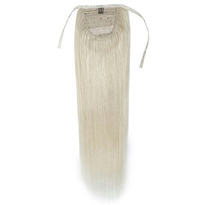 Cabello europeo remy de alta calidad con cola de caballo europea, DIVA Virgin Human se envuelve alrededor del clip en blanco de miel con una cola de caballo rubia en el cabello