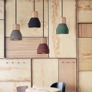 Loft luminária de madeira Vintage Cement Luzes Pingente Modern Light Led E27 Cabo Cozinha Light Restaurant Living Room Cafe Bedroom