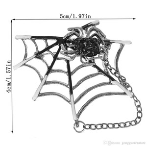 Émail Black Spider Punk Rock Spiders Brooches Web Corsage Collier Pull Aimants clip en forme d'animaux Pins Broches