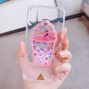 Samsung Galaxy için J4 J6 Artı J5 J7 2017 Başbakan A7 2018 Moda Yaratıcı Dondurma Glitter Quicksand şeffaf telefon kılıfı Çapa
