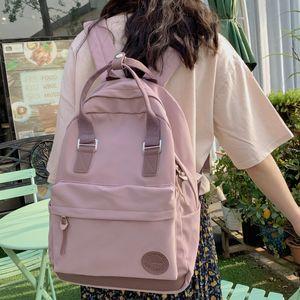 DCIMOR New Nylon with PU leather Women Backpack Female Ring buckle portable Travel bag Preppy Backpacks Girls School Bag Mochila