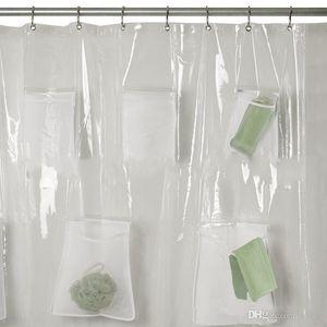 Salle de bain Ensembles Rideau de douche avec poches de fenêtre Rideaux multi-fonction Tissu imperméable Admission Mildiou Preuve Vente Hot 30zjb1 Épaississement