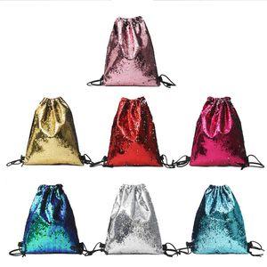 Studente Mini Zaino Paillette Back To School tinta unita Paillettes Sport Srawstring Beam Shoulder Bag Studente Outfit Borsa da viaggio Sette colori