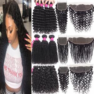 Brésil Human Bundles cheveux avec Closures 4X4 dentelle fermeture ou 13x4 Dentelle Frontal fermeture Remy Brésil profonde Bundles waves avec fermeture
