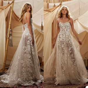 2020 Sexy Spaghetti Strap A Line Overskirts Wedding Dresses Appliqued Lace Wedding Gown Backless Beach Custom Made Ruched Vestidos De Novia