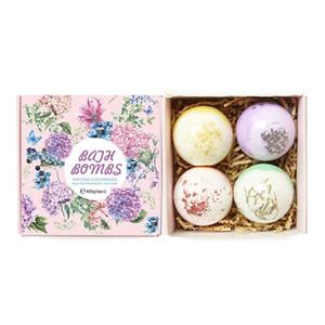 4pcs / set de fleurs séchées Sel de bain Bombes Coffret Cadeau, pour la maison Spa Boule Bulles Artisanat lavande naturelle Bombe de Bain Soins de la peau