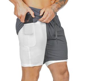 Doble capa de pantalones cortos de secado rápido respiran ejercicios de fitness Joggers pantalones cortos para hombre nuevo regalo pantalones ropa para correr