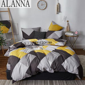 Alanna HD-ALL fashion bedding set Pure cotton A B double-sided pattern Simplicity Bed sheet, quilt cover pillowcase 4-7pcs