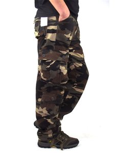 Men's Cargo Pants Outwear Camouflage  Baggy Combat Multi-pockets Casual Trousers Overalls Army Tactical Pants Size 44