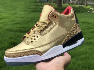 High Quality 3s JTH Tinker Athletic Designer Shoes Gold Red Black Fashion Chaussures Trainers Ship With Box Size US7-13
