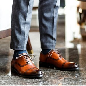 Vintage Genuine Leather Men's Formal Dress Banquet Oxfords Pointed Toe Laces Cap Toe Handmade Wedding Party Man Shoes