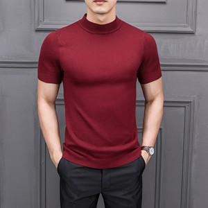 Mrmt gerebloggt 2019 Brand New Herbst T Shirtpure Farbe Halb hohe Kragen Stricken für Männer Half-Ärmeln Pullover MX191214 Tops