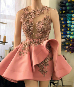 Blush Pink Short Prom Party Dresses with Ruffles Overskirt 2020 Luxury 3D Floral Detail Beaded Sheer Neck Cocktail Evening Gown