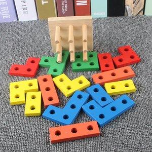 envío libre juguete de la educación Montessori Early forma geométrica par Building Blocks columna de jardín de niños Material didáctico inteligencia Juguete Desempaquetar