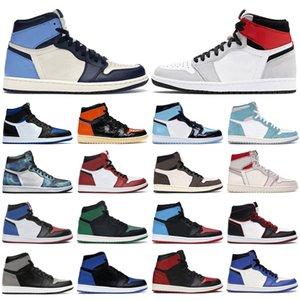 nike air jordan retro 1 Mens tênis de basquete 1s high og jumpman Obsidian Royal Toe Light Smoke Grey UNC Patent Satin Black men women trainers sports sneakers