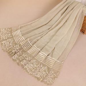2019 moda donna pizzo pianura floreale patchwork viscosa scialle sciarpa di alta qualità musulmano hijab Sjaal avvolge la testa Snood 180 * 85 cm