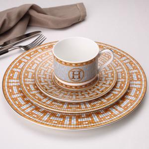 Cerámica Placas de cena Modelo geométrico T200430 plato de cerámica Plato Yellow cuadrícula de vajilla plato de postre vajilla placa de la torta