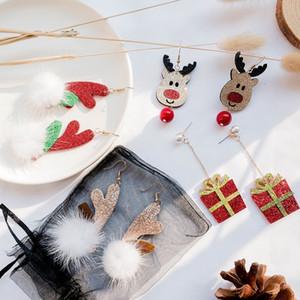 부인 크리스마스 펠트 천 귀걸이의 성격이자 크리스마스 사슴 기질 헤어 전구 귀걸이