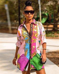 Señoras de la impresión de lujo de la vendimia camisas del diseñador para mujer primavera y verano de la solapa del cuello blusas hembras manera camisas de vestir casuales
