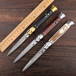 이탈리아어 마피아 자동 칼 AUTO 전술 나이프 다마스커스 단일 블레이드 핸들 EDC 사냥 칼 9 인치