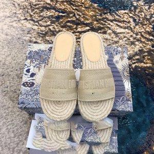 2020 New Sandals Blue White stripes Sandals Denim Flat Slipprs Shoes Ladies Summer outdoor beach causal Flip Flops Genuine Leather Sole 898
