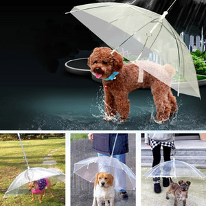 Transparent PE Pet Umbrella Small Dog Puppy Umbrella Rain Gear with Dog Leads Keeps Pet Travel Outdoors Supplies DHL XD20457