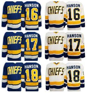 Hanson Brothers Charlestown Slap Shot Movie Maglie da hockey Ice 16 Jack Hanson 17 Steve 18 Jeff Hanson Jersey Team Road Blu Bianco