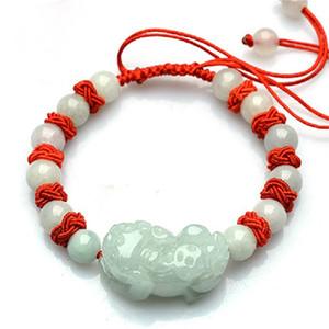 Jade jadéite, chaîne à main vert clair, la chaîne à la main, de sauvetage-corde rouge Bracelet