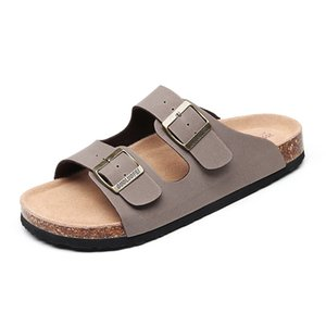 2020 New Men's Leather Mule Slippers High Quality Soft Cork Two Buckle Slides Footwear for Men Women Unisex 35-45