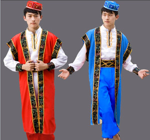 Erkekler Dans Kostümleri Xinjiang Uygur giyim Çin Azınlık Giyim, sahne performansı, şapka ile erkek giysileri