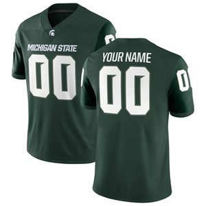 Customize 2019 Michigan State Spartans MSU Football Green White Any Name Any Number #18 LeVeon Bell #7 Cody #3 LJ Scott Lewerke NCAA Jersey