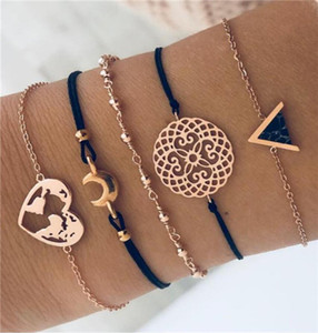 19styles Mode Argent Feuilles Charm Tibetant argent Multilayer Bracelets de femmes Pulseiras Pendentif main Bracelets HZSSL1