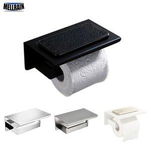 Ванная комната Аппаратные аксессуары держатель для туалетной бумаги черный матовый белый Матовый Зеркало Хромированная Soild Металл бумаги стойку T200425
