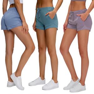 de deportes de los pantalones cortos de cintura alta de Pilates deportes femeninos elásticos cortos de yoga de secado rápido color sólido gimnasio agradable a la piel desnuda sólido femenino