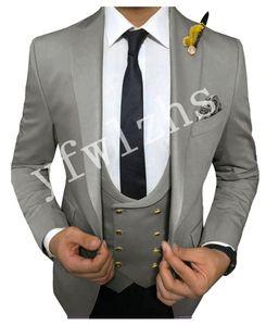 Handsome One Button Groomsmen Peak Lapel Groom Tuxedos Mens Wedding Dress Man Jacket Blazer Prom Dinner suits (Jacket+Pants+Tie+Vest) W61