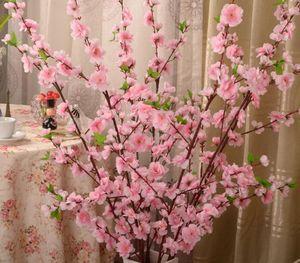 100pcs artificielle cerise printemps Plum Peach Blossom Branche soie Arbre fleur pour mariage Party Decoration blanc couleur rose rouge jaune