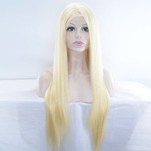 blonde human hair full lace wig with baby hair silky straight front lace wig blonde #613 free parting