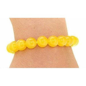 Venta al por mayor 10mm naturales jade amarillo topacio piedra preciosa pulsera de cuentas de la moda pulsera del encanto