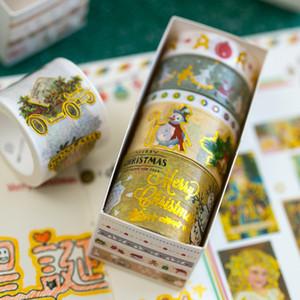 Mohamm 5PCS Christmas Romance Series kawaii Cute Christmas Foil Washi Masking Tape Set Office Supplies Stationery T200229 2016