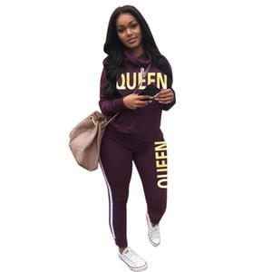Imprimir letra de la reina para mujer Autmn chándales con capucha de manga larga sólido color se adaptan al estilo de 2pcs Deportes Ropa Casual