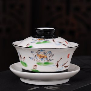 Vintage hand-painted Ceramic Teaware Sets Chinese style Tea Turee Gaiwan Hand-painted porcelain Kung Fu Tea Set Bowl