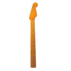 22 الحنق الأصفر اللامع القيقب الغيتار الرقبة القيقب الأصابع مع نقطة سوداء لاستبدال ST FD الكتريك جيتار