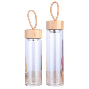 Halatlar Su Şişesi Bambu Kapaklar Waters Kupası ZZA1020 ile Şeffaf 380ml 450ml Erkek Kadın Cam Çay Bardaklar Tek tabakalı
