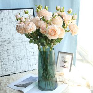 3 رؤساء الفاوانيا الاصطناعي الزهور المصنعين زهرة الحرير وردة الغربي الديكورات المنزلية جدار زفاف وهمية الزهور