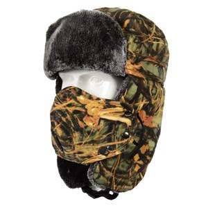 الرجال النساء بيونيك التمويه الشتاء كاب الكبار الدافئة الحرارية قبعة في الهواء الطلق المشي لمسافات طويلة سيرا على الأقدام الصيد كاب منفذها الطيار كاب Ushanka الأذن