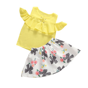 Fashion Toddler Baby Girl Clothes Set Ruffles Off shoulder T shirt Tops Flower Skirts Outfits Summer Children Costumes