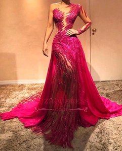 Fucsia brillo de un hombro vestidos de noche largos de encaje transparente de tul Lentejuelas Cristales Fruncido Vestido de Red Carpet formal Prom Vestidos BC0504