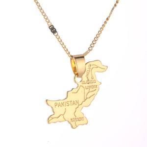 Pakistan Karte Anhänger Halskette für Frauen-Goldfarben-Schmuck Pakistanis Charm Karte Schmuck